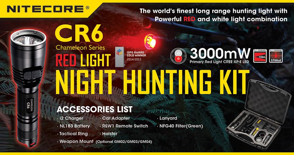 NITECORE CR6 Lovecká sada Bílá+Červená LED